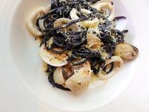 Seafood, black squid ink pasta Stock Photo