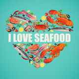Seafood on blue background Royalty Free Stock Photo