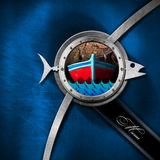 Seafood - Blue and Metal Menu Design. Square seafood menu with porthole, metal fish, boat, blue waves and fishing net on a blue and metallic background with text Royalty Free Stock Images