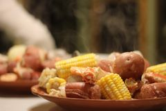 Seafood Boil. Close up of a seafood boil being served stock image