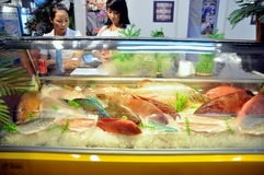 A seafood booth in the Vietfish international seafood show in Vietnam Stock Image