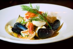 Seafood bouillabaisse or soup Royalty Free Stock Photos