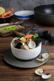 Seafood in bowl. From above Stock Photos