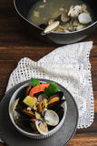 Seafood in bowl. From above Royalty Free Stock Images