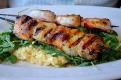 Seafood skewer in Seattle. Seafood brochette with shrimp and scallops in Seattle, Washington Stock Images