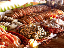 Seafood buffet with fresh shrimp, squid, clams, crabs and lobste Royalty Free Stock Image