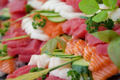 Seafood buffet with herbs Royalty Free Stock Photos