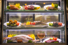 Seafood buffet at restaurant fresh food display Stock Photos