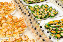 Seafood buffet table Stock Image