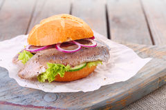 Seafood burger Royalty Free Stock Photo