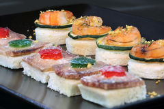 Seafood canape Stock Photos