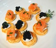 Seafood canapes royalty free stock photos