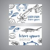 Seafood cards vector template set. Hand drawn vector illustrations. Sketch of crab, lobster, shrimp for restaurant menu. Seafood cards vector template set. Hand Royalty Free Stock Images