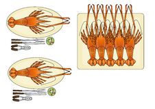 Seafood. Cartoon sea food on background Royalty Free Stock Images