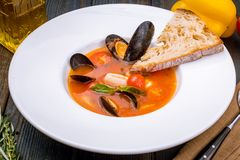 Seafood casserole bowl royalty free stock photos