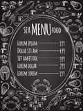 Seafood chalkboard menu template. Seafood chalkboard menu with a central oval frame with a list of prices surrounded by white vector line drawings of fish Royalty Free Stock Images