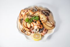 Seafood Chateau with crayfishes, mussels, salmon, crackers, cheese and lemon stock photography