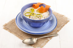 Seafood chowder in a blue bowl Royalty Free Stock Image