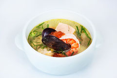 Seafood chowder, shrimp, oysters, caviar Stock Images