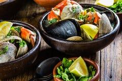 Seafood clams crabs mussela soup. Mariscal Stock Image