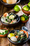 Seafood clams crabs mussela soup. Mariscal Royalty Free Stock Photo