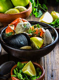 Seafood clams crabs mussela soup. Mariscal Stock Images