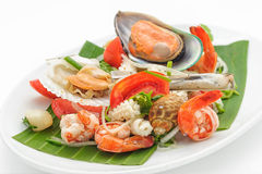 Seafood cocktail with mussels and shrimps Stock Photo