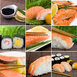 Seafood collage. Collage photo of seafood, sushi, salmon and shrimps Stock Photography