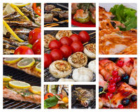 Seafood Collage. Framed photos collage of different seafood dishes Stock Photos