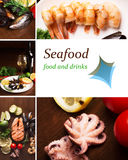 Seafood collage Stock Photography