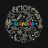 Seafood colorful gradient with line icons set Royalty Free Stock Image