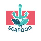 Seafood colorful logo label with anchor and fish. Seafood colorful logotype label with azure anchor and two blue fish against pink rectangular. Vector Stock Photography