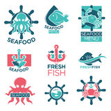 Seafood colorful logo labels flat set on white Royalty Free Stock Photos