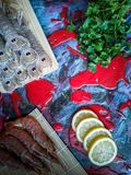 Seafood in composition on colorful background royalty free stock photography