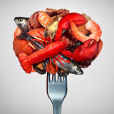 Seafood Concept. As a group of shellfish crustacean and fish grouped together on a fork as a fresh meal from the ocean as lobster steamed clams mussels shrimp royalty free illustration