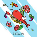 Seafood Concept Illustration. Seafood and fish concept illustration with lobster shrimps and salmon flat vector illustration Stock Photo