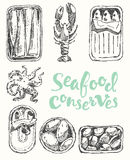 Seafood conserves vintage engraved drawn sketch. Seafood conserves vintage engraved illustration hand drawn, sketch Stock Image