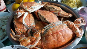 Seafood - Cooked blue crabs Stock Photo