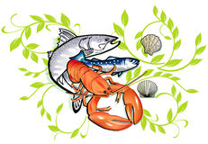 Seafood cooking. And seafood doodles Stock Photography