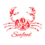 Seafood crab or lobster vector poster. Lobster or crab poster designed of seafood and fish food shrimp, flounder, tuna and salmon or trout, squid or crayfish Stock Photos