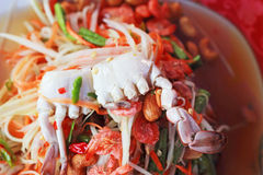 Seafood Crab papayd salad on plate. Stock Images