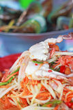 Seafood Crab papayd salad on plate. Royalty Free Stock Photo