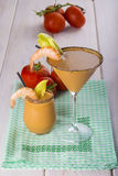 Seafood cream soup in cocktail glass Stock Photography