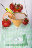 Seafood cream soup in cocktail glass Stock Images
