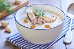 Seafood creamy soup Royalty Free Stock Image