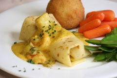 Seafood Crepe. With a curry sauce stock images