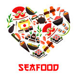 Seafood cuisine heart symbol with sushi icons Royalty Free Stock Photos
