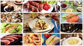 Seafood cuisine montage stock video footage