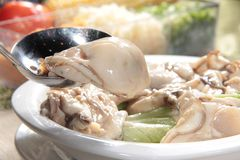 Fresh and tasty seafood cuisine. Seafood cuisine of shrimp, abalone, squid, mussel, oyster or scallop Stock Photos