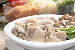 Fresh and tasty seafood cuisine. Seafood cuisine of shrimp, abalone, squid, mussel, oyster or scallop Stock Image